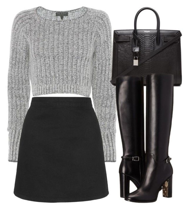 """""""Untitled #2931"""" by charline-cote ❤ liked on Polyvore featuring rag & bone, Topshop, Yves Saint Laurent and Burberry"""