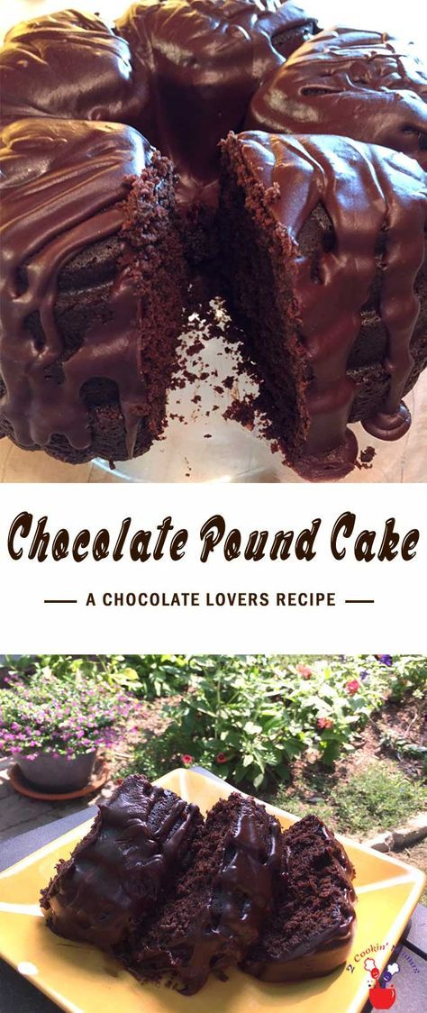 Calling all chocolate lovers! An easy to make, deliciously moist chocolate pound cake topped with even more deep rich chocolate! #recipe via @2CookinMamas