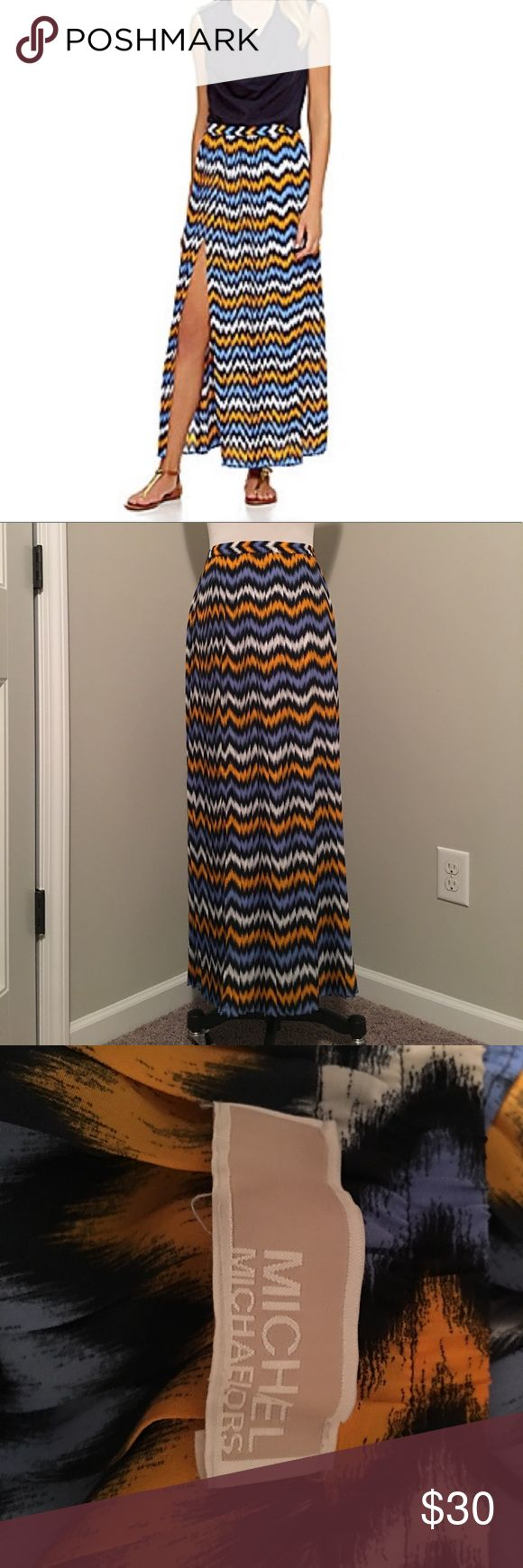 MK chevron maxi skirt with slit size XS Michael Kors chevron maxi skirt with slit up side. Size XS. Polyester. Super comfy and in wonderful condition!! Golden yellow, white, navy, light blue colors. Elastic waist. Michael Kors Skirts Maxi