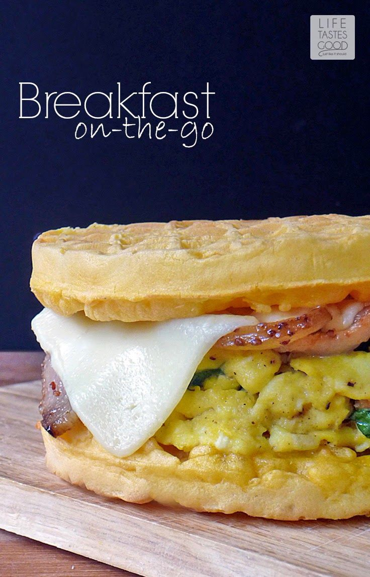 Breakfast On-the-Go Egg Sandwich ~~ by Life Tastes Good is a delicious way to start the day! #4MoreWaffles #shop