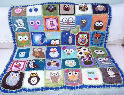 Multi-Owl Afghan - No pattern.  I love the story of this afghan and many others like it, which are given to nursing home residents in the UK  (http://www.sunshineinternationalblanketsoflove.blogspot.com).  Every square is lovingly created by people all over the world, assembled into one afghan and given to nursing home residents.  Heartwarming...  :)