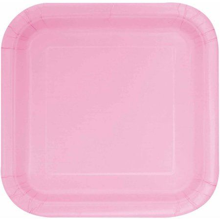 9 inch Square Light Pink Dinner Plates, 14-Count