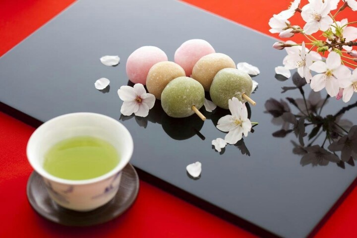 Dango is a japanese dumpling made from mochiko (rice flour), related to mochi. It is often served with green tea.