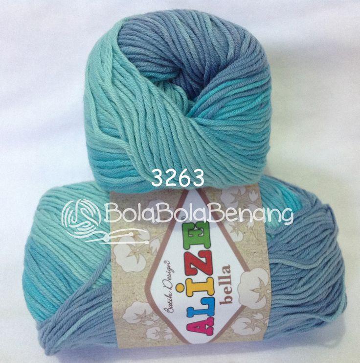 Alize Bella Batik 3263, Price: Rp.65.000,- /gulung, Bahan: 100% COTTON, Berat/Panjang: 50gram/180mt, Knitting Needles: 2mm - 4mm, Crochet Hook: 1mm - 3mm