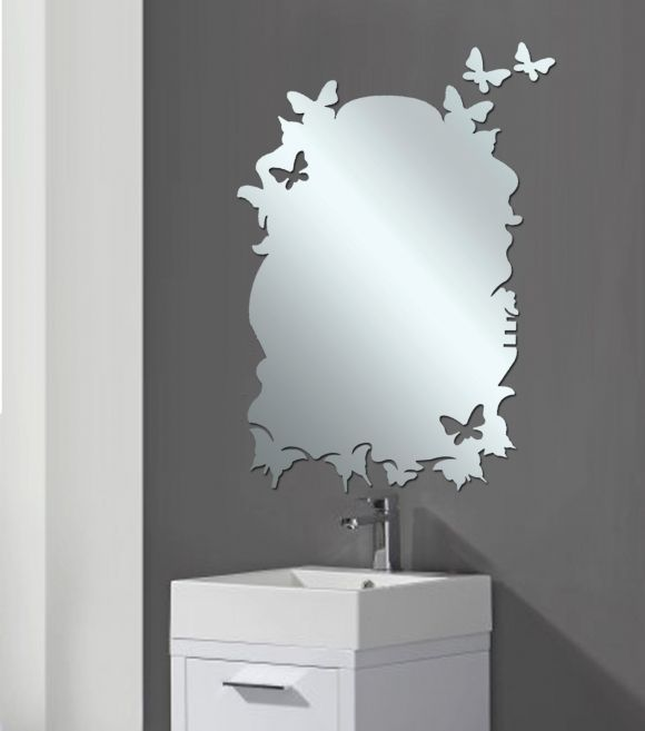 Bathroom Decor Decorative Bathroom Mirrors With Butterfly Mirror Shape Frameless For Modern Bathroom Top Bathroom Decor For Kids Teenage And Boys Girls With Nautical And Tropical Theme