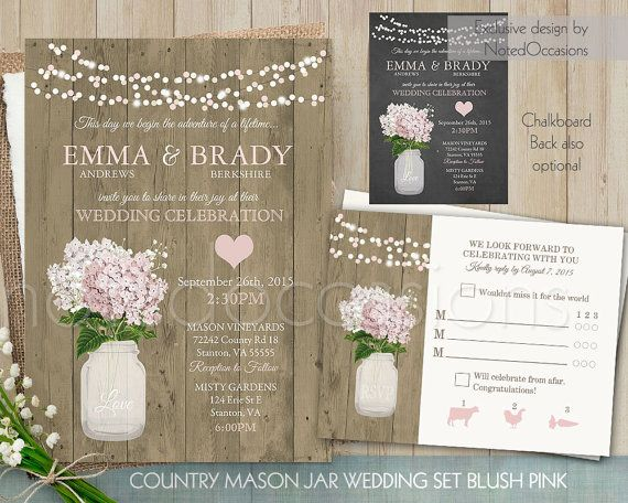 Rustic Wedding Invitations. Mason Jar Wedding Invitation Set For Country  Weddings With Florals As A