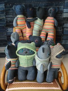 I Love Denim: denim work cool plushie bears in jumpers , they one at the front looks like an ewok