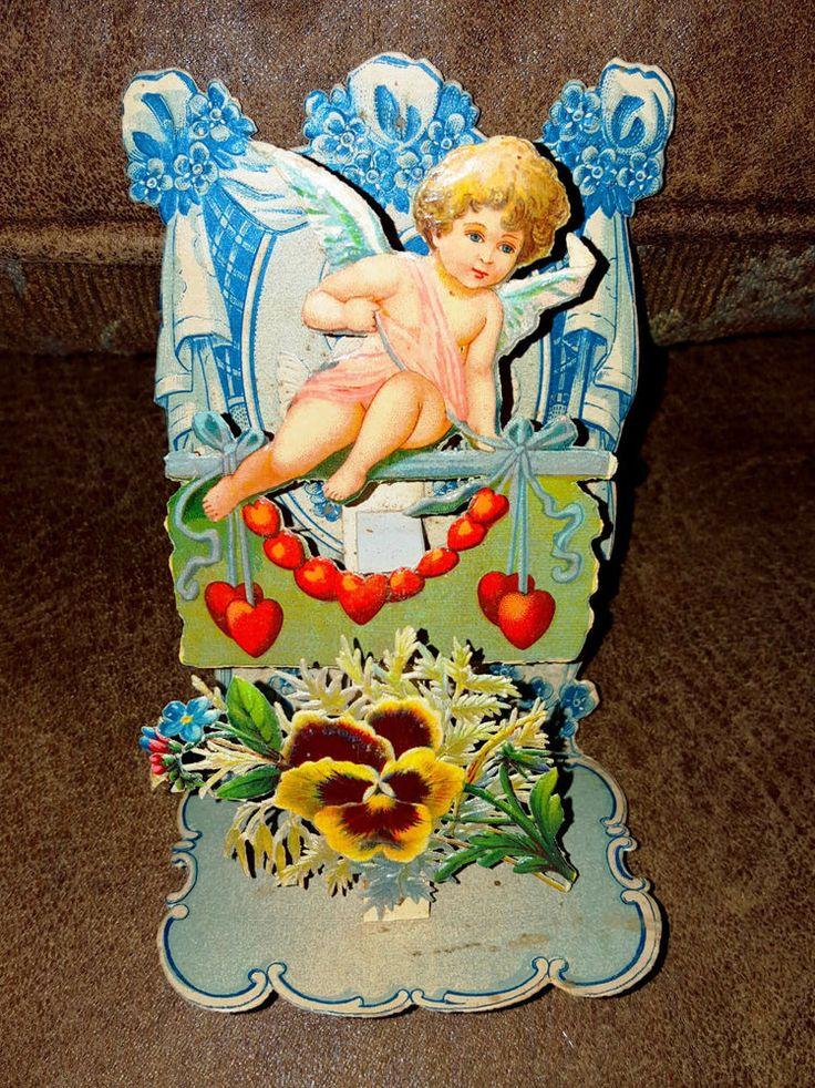 old valentine card 3D layered beautiful cherub