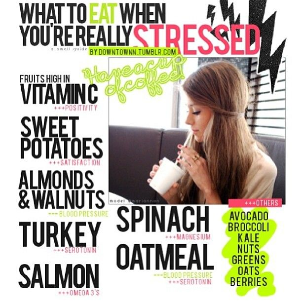Healthy stress eats. Instead of gorging yourself on chocolate or other sweets, grab some of these healthy foods instead!