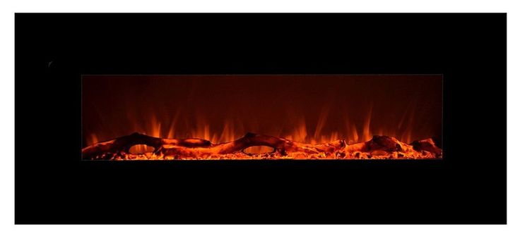 Wall Hanging Electric Fireplace w/ Logset & Crystal in Onyx Design 50 Inch Wide #Touchstone #Contemporary