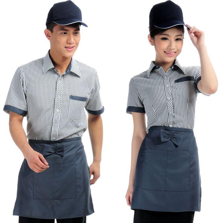 The XK132 hotel restaurant waiter uniforms overalls summer clothes summer woman hotel apparel Thumbnail