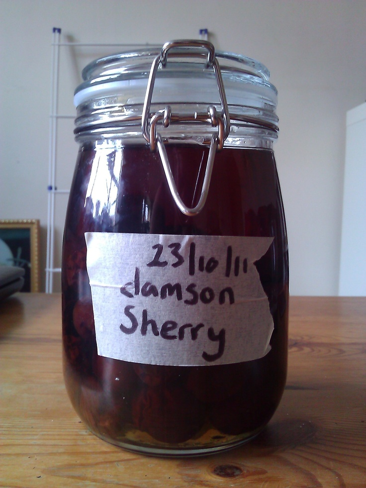 Once you have made your damson gin, stick the used damsons in some sherry with a heaped tablespoon of sugar, shake occasionally and strain after 5 weeks.