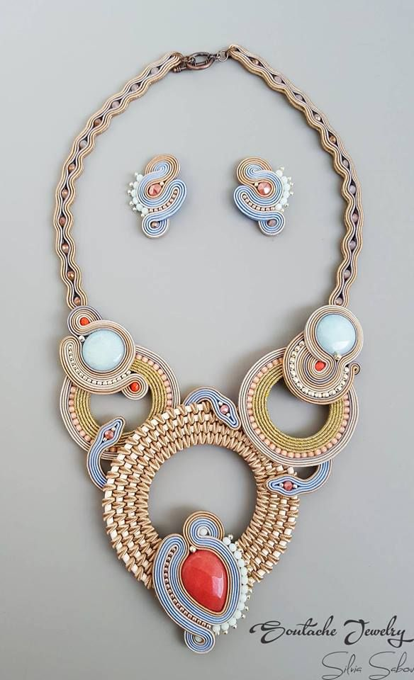 Pastel Vibes Unique handmade soutache necklace and earrings
