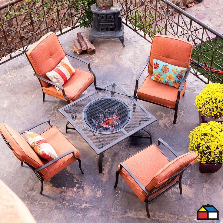 Juego #terraza Firepit 5 piezas #Jardin