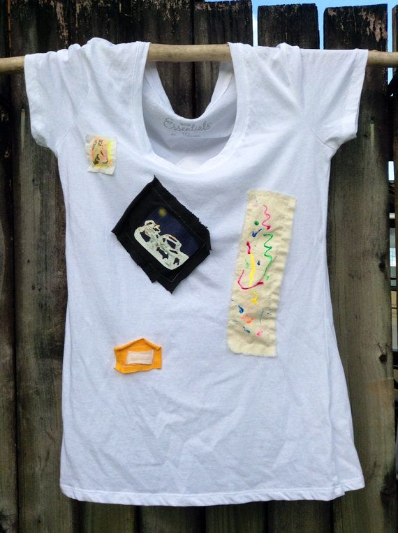one off hand decorated tee top size 10 on Etsy, $37.00 AUD