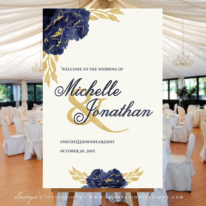 Welcome Wedding Sign, Gold And Navy Wedding Welcome Sign, Dark Blue Wedding  Reception Sign, Bridal Shower Sign, PRINTABLE Wedding Sign « Wedding  Invitations