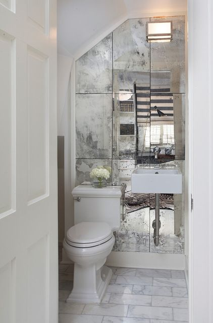 Transitional Powder Room By TY LARKINS INTERIORS Tip One Way To Cheat On The Look Of A Large Mirror Is Use Smaller Glass Tiles Or Sections Which