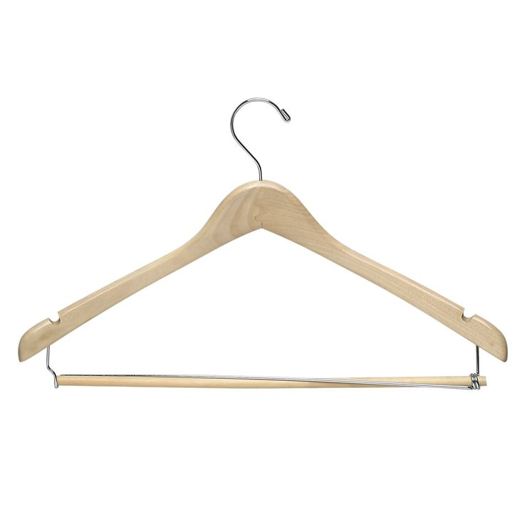 Honey-Can-Do Suit Hanger with Locking Bar - Maple (Brown) (6pk)