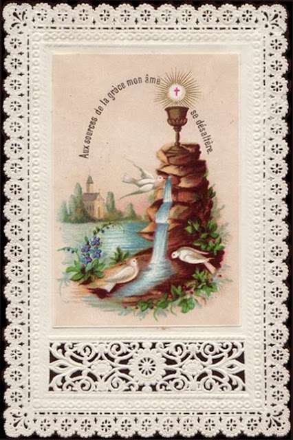 """""""At the Source of Grace, my soul is refreshed.""""   (Holy Card Translation)"""