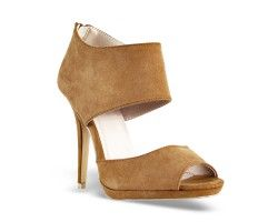 28€ Peep-Toe D'Orsay with wide bands, camel color. Visit our website now!