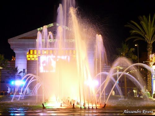 Spain, Canary Islands, TENERIFE: WATER FLOW IN FOUNTAIN, PLAYA DE LAS AMERICAS (Adeje)