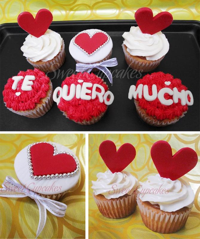 Cupcakes de vainilla crema de mantequilla roja y blanca y for Decoracion en cupcakes
