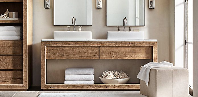 Reclaimed Russian Oak Vessel Washstand Bath Collection Natural Restoration Hardware Bathe
