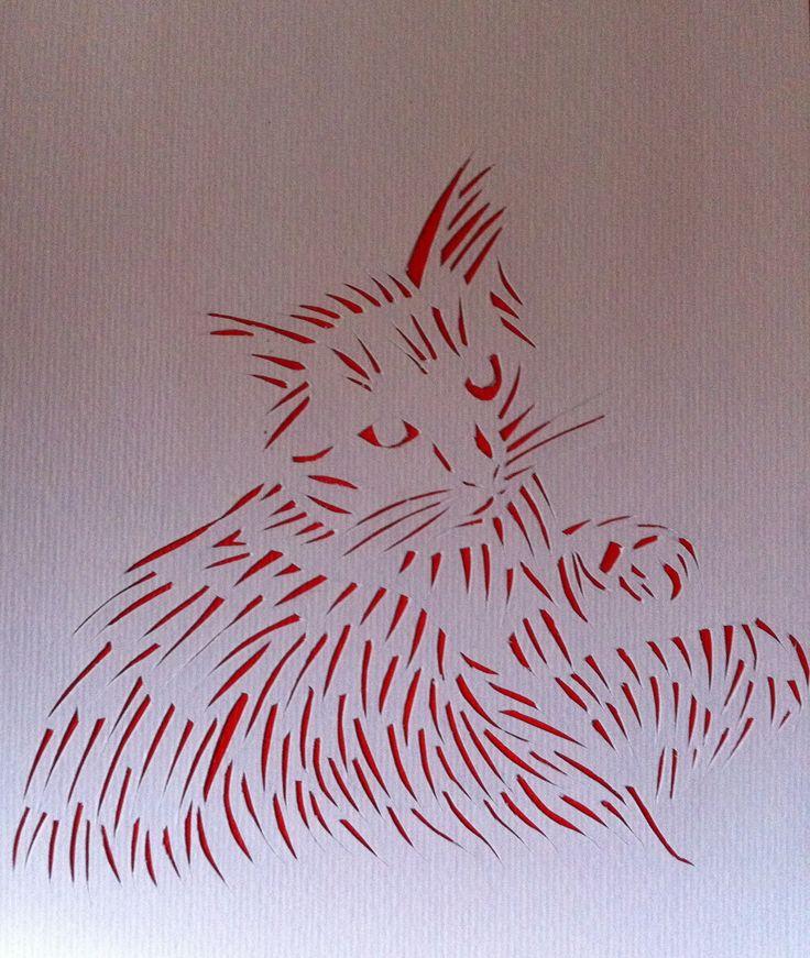 Peinture chat sur papier @Lumeline-BLL Douceur : Peintures par lumeline-bll