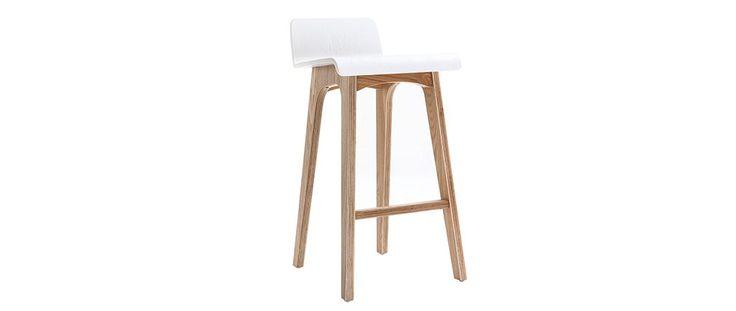 chaise de bar scandinave 65 cm bois et blanc baltik. Black Bedroom Furniture Sets. Home Design Ideas