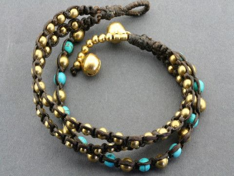 3 strand brass & turquoise bead bracelet