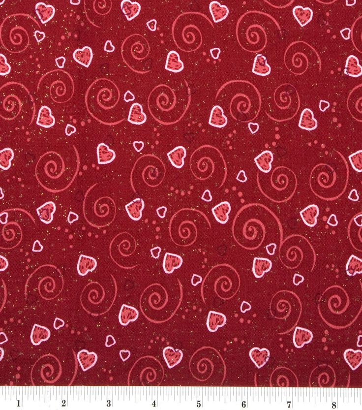 Valentine's Day Print Glitter Fabric 43''-Red with Hearts ...