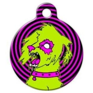 Zombie Poodles on the Loose Custom Pet ID Tag for Dogs and Cats Dog Tag Art