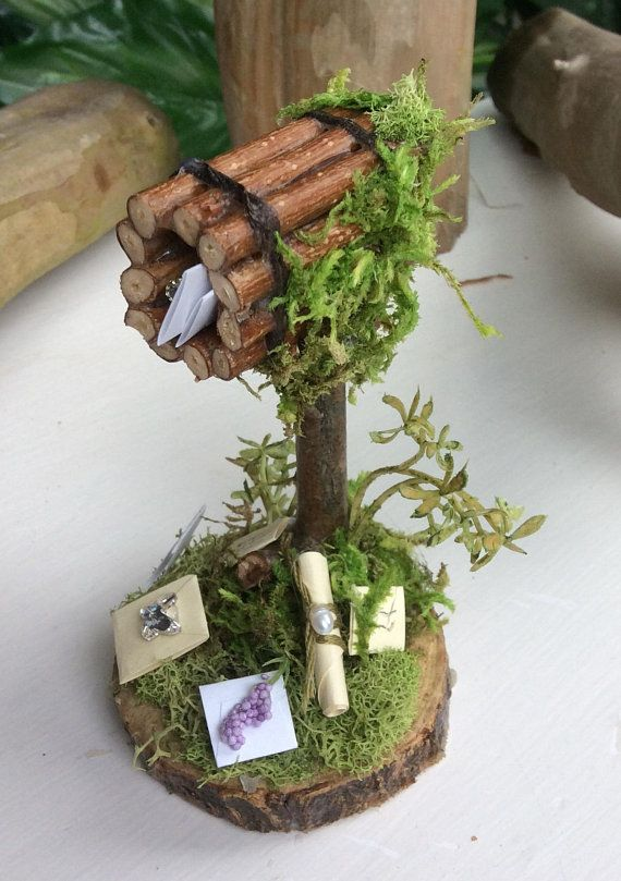 Fairy Mailbox with Letters/Parcels Handcrafted by Olive ~ Fairy Not Included, Terrarium Accessories, Fairy Swing, Miniature Garden