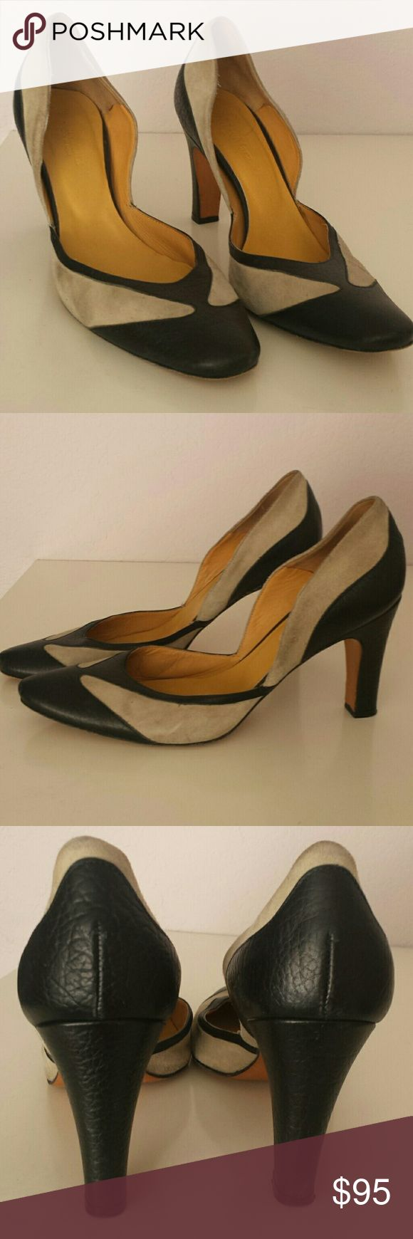 """Max Mara Two Toned Heels Beautifully sculpted Max Mara heels in Nude and leather with a 3.25"""" heel. Shoes are in good used condition and have minor wear on top and sides.  Made in Italy.   B MaxMara Shoes Heels"""
