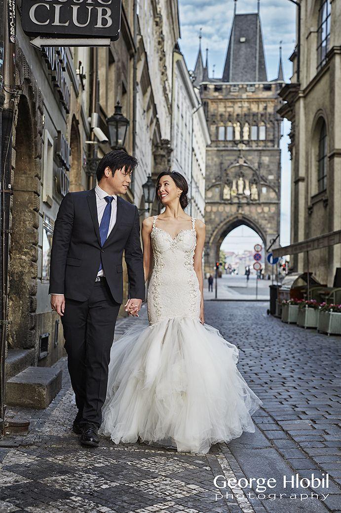 Prague pre-wedding in romantic streets of Old Town - Bridal dress from Galia Lahav