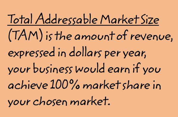 Image: The text says, 'Total Addressable Market Size (TAM) is the amount of revenue, expressed in dollars per year, your business would earn if you achieve 100% market share in your chosen market.'