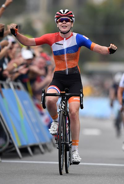 Netherlands' Anna Van Der Breggen celebrates after winning the Women's road cycling race at the Rio 2016 Olympic Games in Rio de…