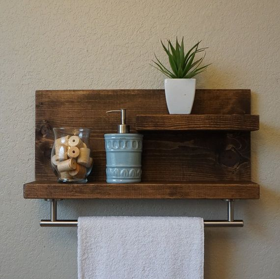 "Modern Rustic 2 Tier Bathroom Shelf with 18"" Satin Nickel Finish Towel Bar"