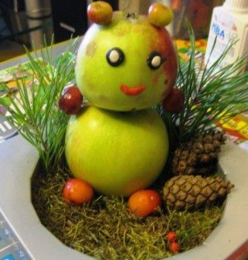 Поэтапный план создания осенней поделки с детьми из подручных материалов: мишка из яблок своими руками.