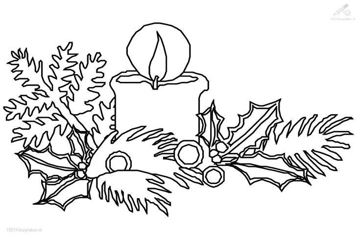 1001 kleurplaten  kerst  kaarsen  kaars met hulst