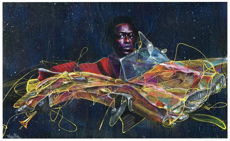 Miles davis art print jazz art surreal art wall art etsy