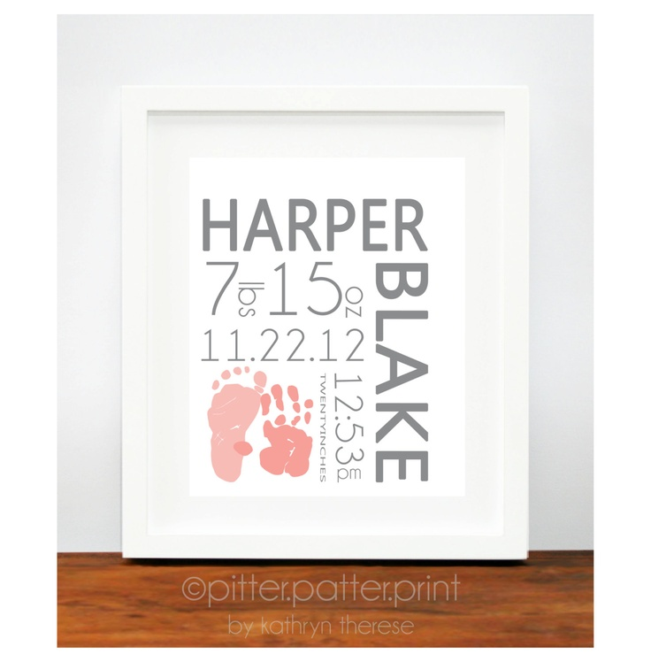 Birth Announcement Wall Art Poster - Baby Footprint Handprint - Baby Name Art - New Baby Gift - Pink and Gray Nursery Decor. $30.00, via Etsy.