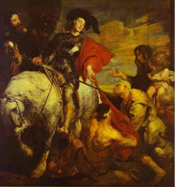 San Martino che divide il suo mantello di Antoon Van Dyck