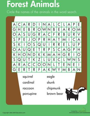 Third Grade Vocabulary Life Science Worksheets: Habitats Word Search: Forest Animals
