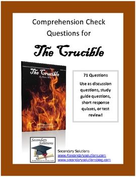 13 best the crucible images on pinterest salem witch trials complete collection of comprehension check study guide questions for the crucible by arthur miller fandeluxe Choice Image