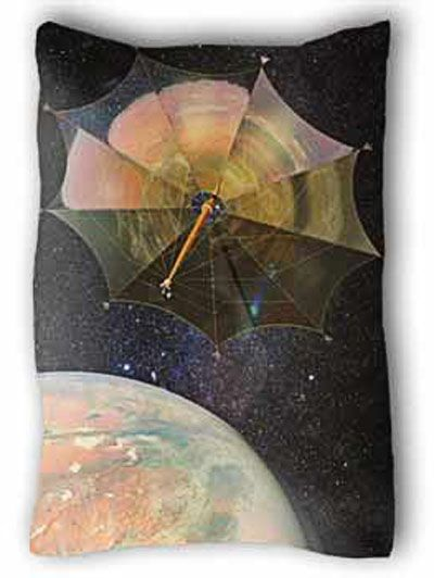 Solar Sail Johannes Kepler leaving Mars orbit for a trip to the Moons of Jupiter. The terraformed planet is reflected in the shiny surface of the giant sail.