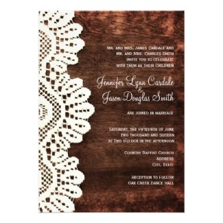 Rustic Country Barn Wood and Lace Wedding Invitations  #wedding #country