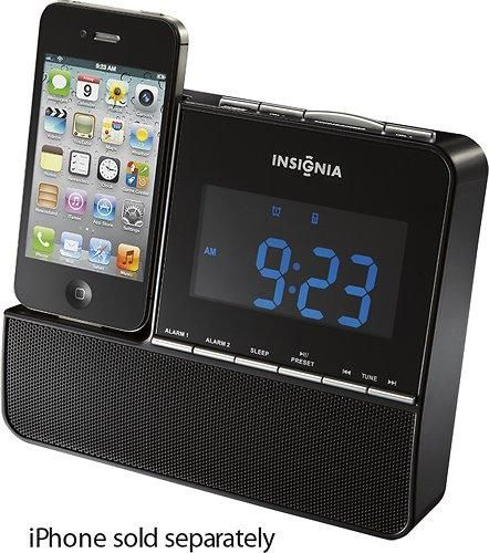insignia nsclip01 amfm digital alarm clock radio ipod iphone