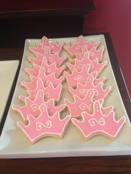 Pink crown decorated sugar cookies at a Princess girl birthday party!  See more party ideas at CatchMyParty.com!