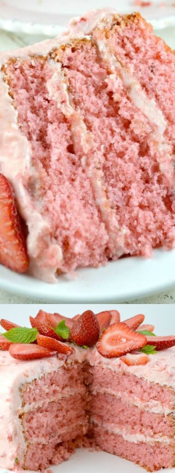 This Strawberry Triple Layer Cake from Gonna Want Seconds is a crazy delicious triple decker cake! It's so incredibly moist, rich, and has an the most amazing strawberry buttercream frosting!